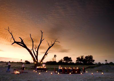 Experience a dinner like never before - Selinda Camp, Botswana